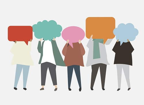 good communication - people with speech bubbles - communicate blog for Clarity CIC