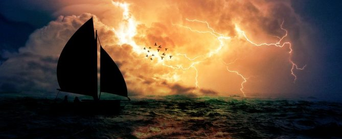 sail boat in a storm